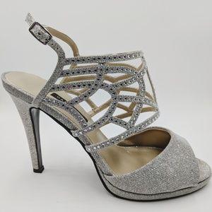 "Caparros Sandals 8 Silver RhinestoneGlitter 4""Heel"